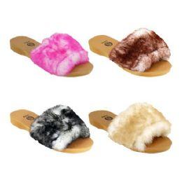 40 Units of Women's Fur Slides - Women's Sandals