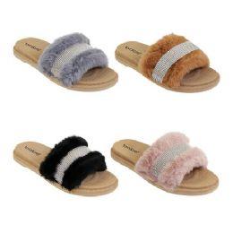40 Units of Women's Fur Slides Rhinestone Glitter Sandals - Women's Sandals