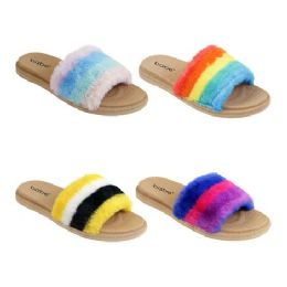 40 Units of Women's Multicolor Fur Slides - Women's Sandals