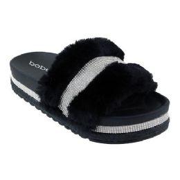 15 Units of Women' S Fur Slides With Rhinestone Strap - Women's Sandals