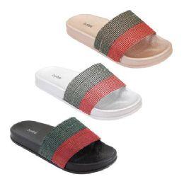30 Units of Women's Rhinestone Glitter Crystal Slides Size 5-9 - Women's Sandals