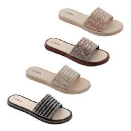 40 Units of Women's Rhinestone Slide - Women's Sandals