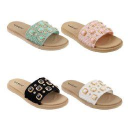 40 Units of Women's Gemstone Slides - Women's Sandals