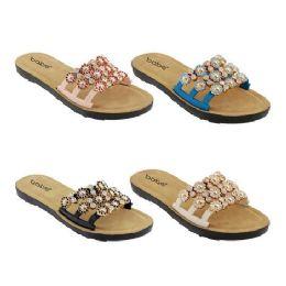 40 Units of Women's Floral Rhinestone Slides - Women's Sandals