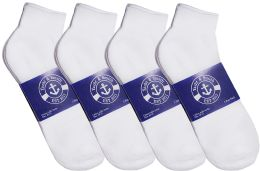 24 Units of Yacht & Smith Mens Cotton White Sport Ankle Socks, Sock Size 10-13 - Mens Ankle Sock