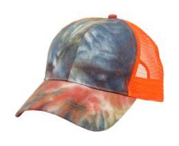 12 Units of PONYTAIL TIE-DYE COTTON TRUCK CAP IN MIX RUST - Baseball Caps & Snap Backs