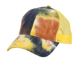 12 Units of PONYTAIL TIE-DYE COTTON TRUCK CAP IN MIX BLUE - Baseball Caps & Snap Backs