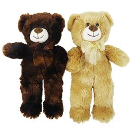 """48 Units of 13"""" Plush Natural Bear with Bow - Plush Toys"""