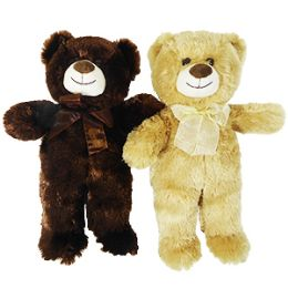"""24 Units of 15"""" Plush Natural Bear With Bow - Plush Toys"""