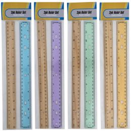 72 Units of Ruler 2pk Plastic/wooden 4ast Color Plastic Stat Pbh - Rulers