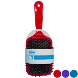 24 Units of Hair Brush Paddle Cushion Asst Clr Handles 3.35x9.45in Slvcard - Hair Brushes & Combs