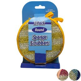 24 Units of Sponge/scrubber Round 2pk 3ast 4.75in Peggable Cleaning Card - Scouring Pads & Sponges