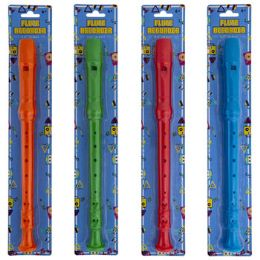 24 Units of Flute Recorder 12.75in Blue/grn/org/red Blister Card - Musical