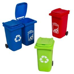 24 Units of Mini Wheeled Trash Bin Pencil Holder Plst 5.5inh 2style/3 Clrs - Office Supplies
