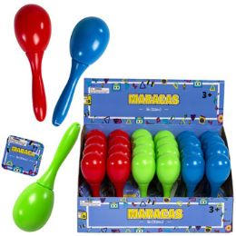 24 Units of Maraca 5in 3 Asst Colors Red/lt Blue/green 24pc Pdq ht - Musical