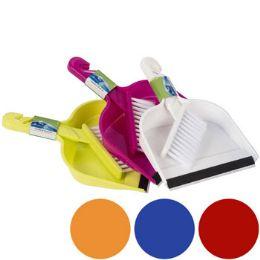 48 Units of Dust Pan Mini W/rubber Lip & Brush 6 Colors 10x6.875 In Pdq - Dust Pans