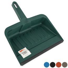 24 Units of Dust Pan W/rubber Lip 12in Heavy Duty 5 Colors - Dust Pans
