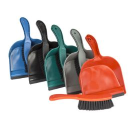 48 Units of Dust Pan W/brush & Rubber Lip 8.5in 5 Colors - Dust Pans