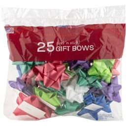 48 Units of Bows Christmas 25 Peel N Stick Asst Colors Printed Polybag - Bows & Ribbons