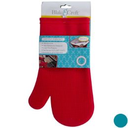 18 Units of Oven Mitt Silicone W/soft Lining 12in 2asst Colors Up To 428f - Oven Mits & Pot Holders