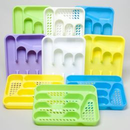48 Units of Cutlery Tray 5 Section 4 Colors 2 StyleS- Slotted/solid In Pdq - Serving Trays