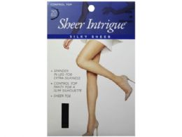 72 Units of Sheer Intrigue Mid Black Silky Sheer And Spandex Control Top Pantyhose Small - Womens Knee Highs
