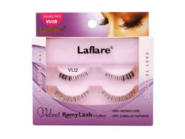72 Units of Laflare Vu2d 100% Human Hair Velvet Remy Double Under Lower Eyelashes - Assorted Cosmetics
