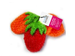 45 Units of 3 Pack Strawberry Sponges In Red, Orange And Orange - Scouring Pads & Sponges