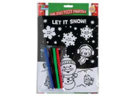 72 Units of Fuzzy Holiday Poster Set With 4 Markers - Craft Kits