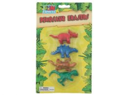 72 Units of 4 Pack Colorful Dinosaur Erasers - Erasers