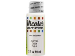 144 Units of Nicoles 2 Oz Acrylic Craft Paint In Almost White - Art Paints