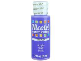 144 Units of Nicoles 2 Oz Acrylic Craft Paint In Purple - Art Paints