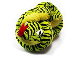 30 Units of Large Knotted Zebra Print Plush Snake - Plush Toys