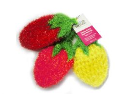 45 Units of 3 Pack Strawberry Sponges In Red, Pink And Yellow - Scouring Pads & Sponges