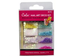 72 Units of Multi Color Stone Nail Art Decoration Kit With Glue - Craft Glue & Glitter