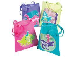 72 Units of Girlysaurus Tote Bag In Assorted Colors - Tote Bags & Slings
