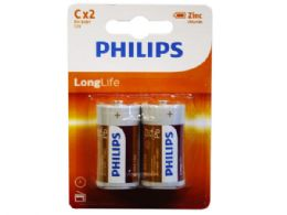 36 Units of Philips Long Life Zinc Chloride 2 Pack C Battery - Electronics