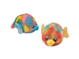 24 Units of Large 14 In Tie Dye Plush Puffer Fish - Plush Toys