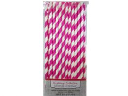 72 Units of Pink Stripe Paper Straws 24 Count - Straws and Stirrers