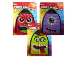 36 Units of Funny Face Flinging Flyer In Assorted Designs - Toys & Games