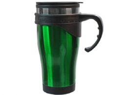 36 Units of 16 Oz Green Stainless Steel Travel Mug With Handle In Gift Box - Coffee Mugs