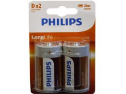 36 Units of Philips Long Life Zinc Chloride 2 Pack D Battery - Electronics