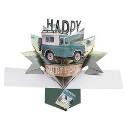 12 Units of Happy Birthday Pop Up Card - Land Rover - Balloons & Balloon Holder