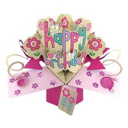 12 Units of Happy Birthday Pop-Up Card - Flowers - Balloons & Balloon Holder