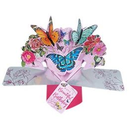 12 Units of Happy Birthday Pop Up Card - Butterflies - Balloons & Balloon Holder