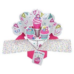 12 Units of Happy Birthday Pop Up Card - Cupcakes - Balloons & Balloon Holder