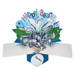 12 Units of Happy Birthday Pop Up Card -Golf - Balloons & Balloon Holder