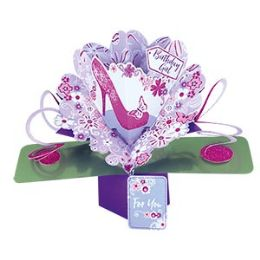 12 Units of Happy Birthday Pop Up Card -Shoe - Balloons & Balloon Holder
