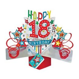 12 Units of Happy 18th Birthday Pop Up Card -Stars - Balloons & Balloon Holder