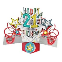 12 Units of Happy 21 Birthday Pop Up Card -Stars - Balloons & Balloon Holder